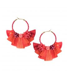 Beaded red creole earrings with tassels - CARTAGENA EARRING BE-S-7704