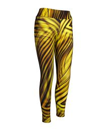 Workout leggings yellow geometric print - LEG BEACH LUXOR