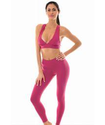 Dark pink sports bra and leggings - NZ VITAMINA FITNESS