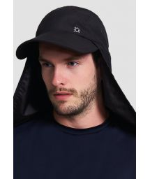 Black cap with neck protection - SPF50 - BONÉ LEGIONÁRIO PRETO - SOLAR PROTECTION UV.LINE