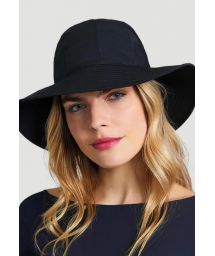 Black hat with bandana tie - CHAPEU SAN REMO PRETO - SOLAR PROTECTION UV.LINE