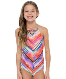 Gold print reversible girl's one-piece swimsuit - BELLAMAR ONE PIECE