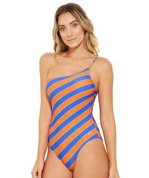 Blue and orange asymmetrical one-piece swimsuit - ALBATROZ CAYENA