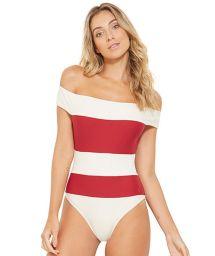 Купальник со спущенными плечами в белые/красные полосы - CARMEM BRANCO PEROLA