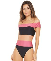 Трёхцветный купальный костюм с верхом, обнажающим плечи - CARMEM PRETO