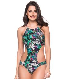 Colorful floral deeply cut Brazilian monokini - ENGANA ATALAIA
