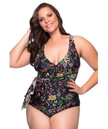 Black floral dress style one-piece swimsuit plus size - MAIO PAREO DREAM