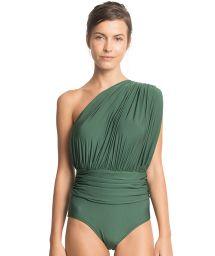 Grön asymmetrisk hel baddräkt med draperingar - ONE SHOULDER DRAPED