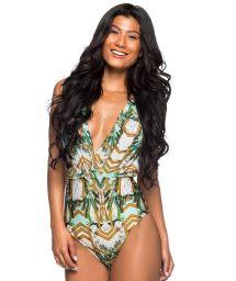 Colorful deep V neckline swimsuit - BODY CHAIN PAQUETARIA