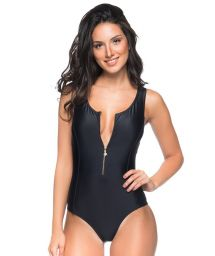 Black swimsuit with a zipper and transparent back - MAIO PRETO