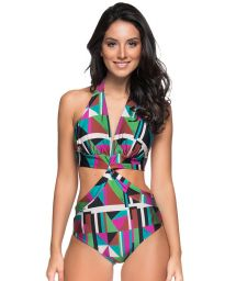 Colorful Brazilian monokini with twisted effect - SICILIA DELAUNAY