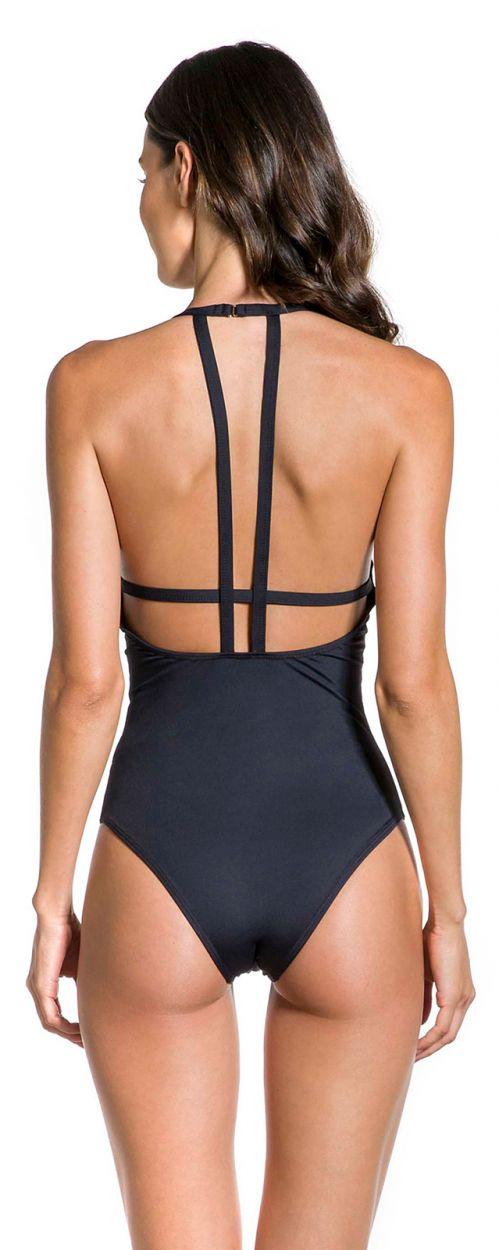 High-neck black swimsuit