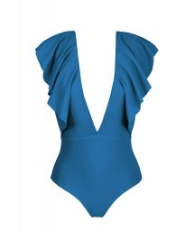 Blue one-piece plunging neckline swimsuit with ruffles - BODY TURQUIA FRILL