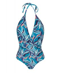 Blue and pink print neck-tie one-piece swimsuit - LILLY TRANSPASSADO