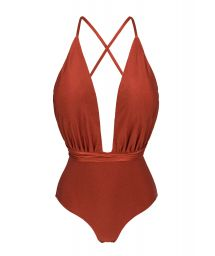 Burgundy plunging one-piece swimsuit - LIQUOR NEW VEGAS