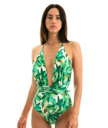 One-piece swimsuit with multi-position straps - NEW VEGAS FOLHAGEM