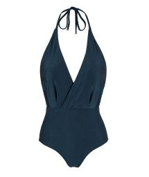 Iridescent navy textured one-piece swimsuit - SHARK TRANSPASSADO