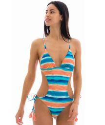 Brazilian scrunch monokini in blue and coral pattern - UPBEAT TRIKINI COMFORT