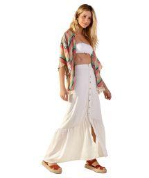 Geometric print beach kimono with textured effect - AGNES CURTA POLINESIA