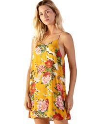 Yellow floral beach dress with slim straps - COQUETEL XANGAI