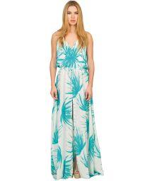Lång, slitsad sidenklänning tropiskt tryck - PALMA LONGA