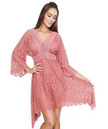 Luxurious asymmetric pink beach dress - JILL TUNIC ROSE GOLD