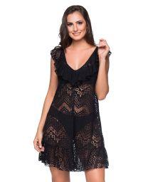 Black beach dress with ruffles and openwork pattern - BABADO CROSSED PRETO