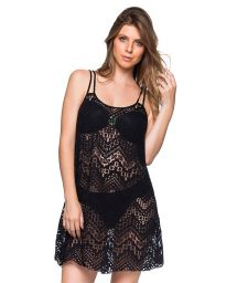 Black beach dress with openwork and thin straps - REGATA PRETO LP