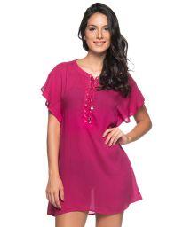 Raspberry beach dress with laced neckline - ILHOS CLOCHE