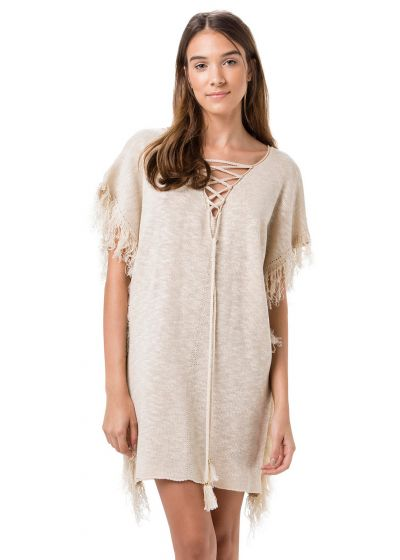 Beach dress in naturale beige with laces - RESORT