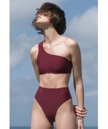 Lila bikini med hög midja och asymmetrisk crop topp - BIKINI PERLIN GRENAT