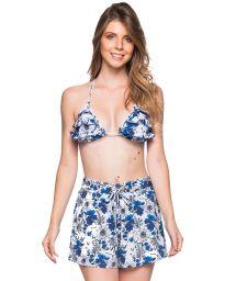 Floral blue set: ruffled triangle top & beach short - BABADO ATOBA
