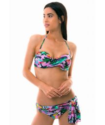 Bandeau bikini i pareo stil med färgrant Cuba-tryck - ILHA DE CAPRI