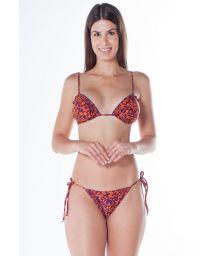 Ripple orange / purple leopard scrunch bikini - RIPPLE JAGUAR