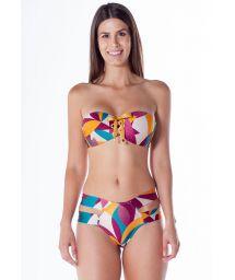 Colorful print laced bandeau bikini with double side bottom - TQC ILHOS RAMA