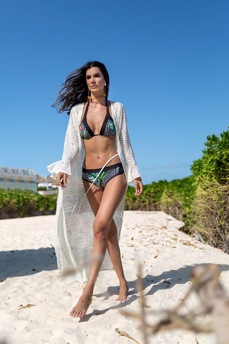 Geometric & tropical bikini with black edges - FRONTEIRAS SUTIL ELEGANCIA