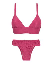Fuchsia pink fixed longline bikini with a waistband - CLOQUE LICHIA TRI COS