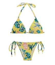 Accessorized floral side-tie bikini - FLORESCER INVISIBLE