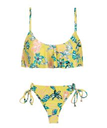 Yellow floral side-tie scrunch thong bikini with ruffled top - FLORESCER BABADO MICRO