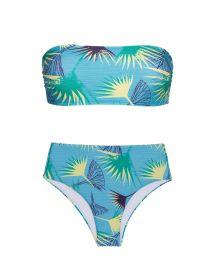Blue floral bandeau high-waisted bikini - FLOWER GEOMETRIC RETO