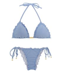 Accessorized denim blue scrunch bikini - GAROA FRUFRU