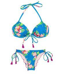 Balconette-bikini med tofsar, blommönster på blå botten - HOOKERI BALCONET