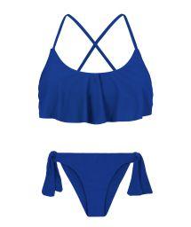 Marinblå bikini, kort topp med volanger, korsad rygg - PLANET BLUE BABADO