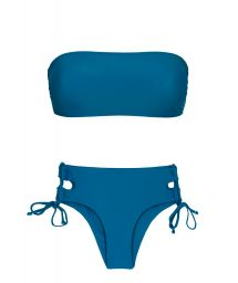 Blue laced larger-side bikini with bandeau top - TURQUIA RETO