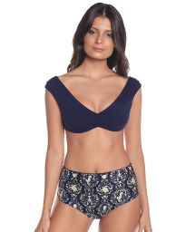 Navy bikini top with back knot and reversible bottom - AURORA ULTRAMARINE BLUE