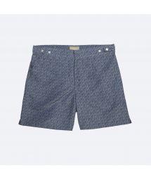 Купальные шорты в двухцветный принт синего/цвета хаки - DOGON