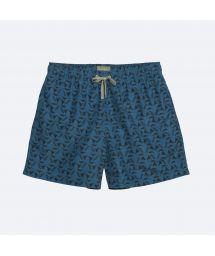 Мужские купальные шорты темно-синего цвета с черным узором - POKOT