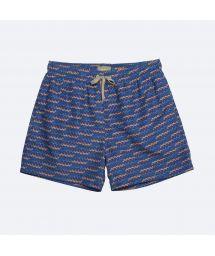 Купальные шорты темно-синего цвета в принт и с карманами - SHOTO