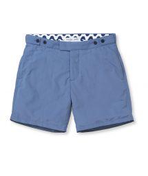 Мужские шорты синего цвета приталенного покроя - BLOCK TAILORED SHORT SLATE