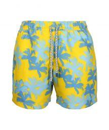 Blå och gula badbyxor med palmtryck - SWIM SHORTS PALMS SLIM